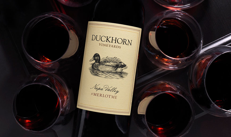 Bottle of duckhorn Merlot