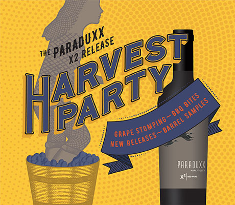 X2 harvest party graphic