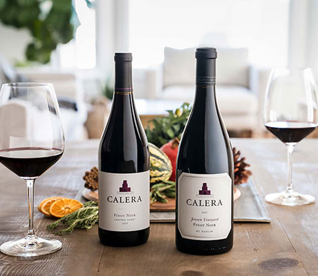 Calera Pinot Noirs on a holiday table