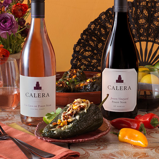 Stuffed Poblano Peppers paired with Calera wines