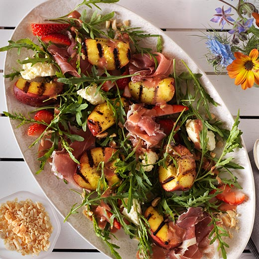 Grilled Peach Salad recipe paired with Calera wines