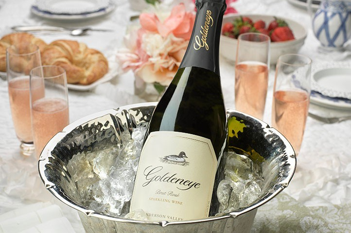 Sparkling wine in ice bucket