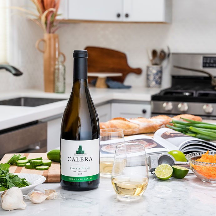 Calera chenin blanc on counter