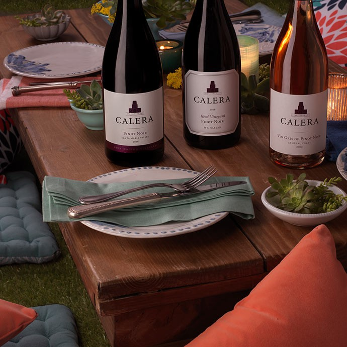 Calera wines on outdoor table