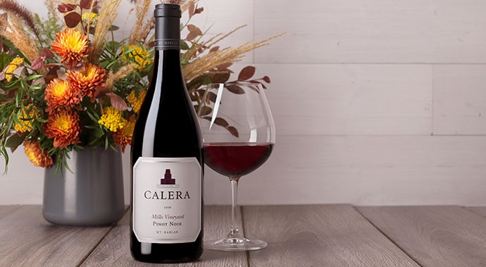 Calera wine on table with flowers