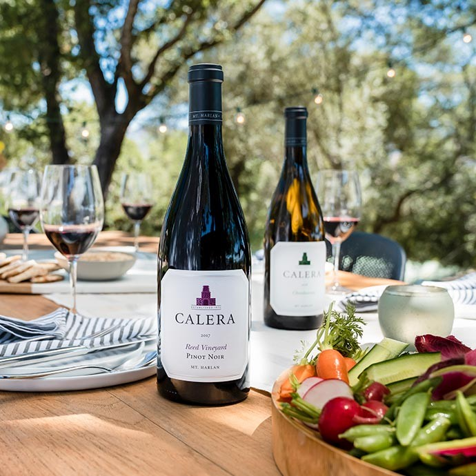 Reed Pinot Noir and Calera Chardonnay on outdoor table with glassware and  food