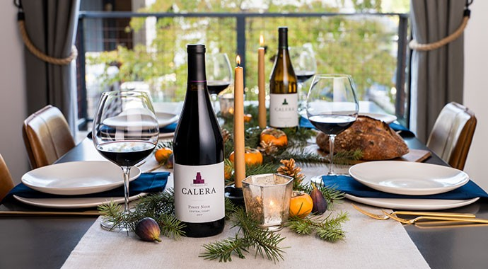 Calera wines on a holiday table