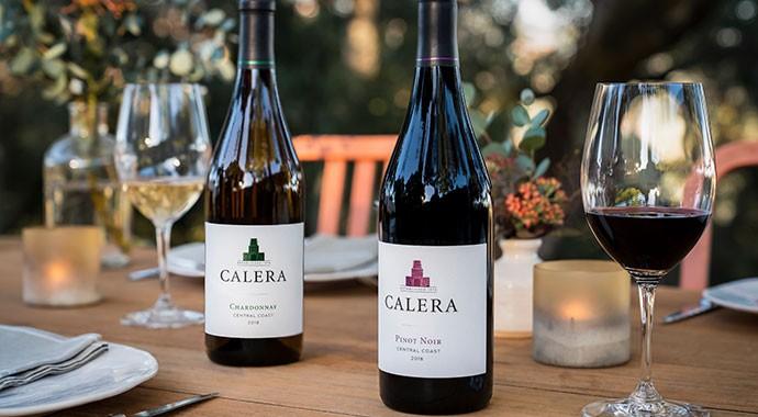Calera wine bottles on outdoor table