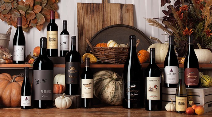 Duckhorn Portfolio wines on a fall table
