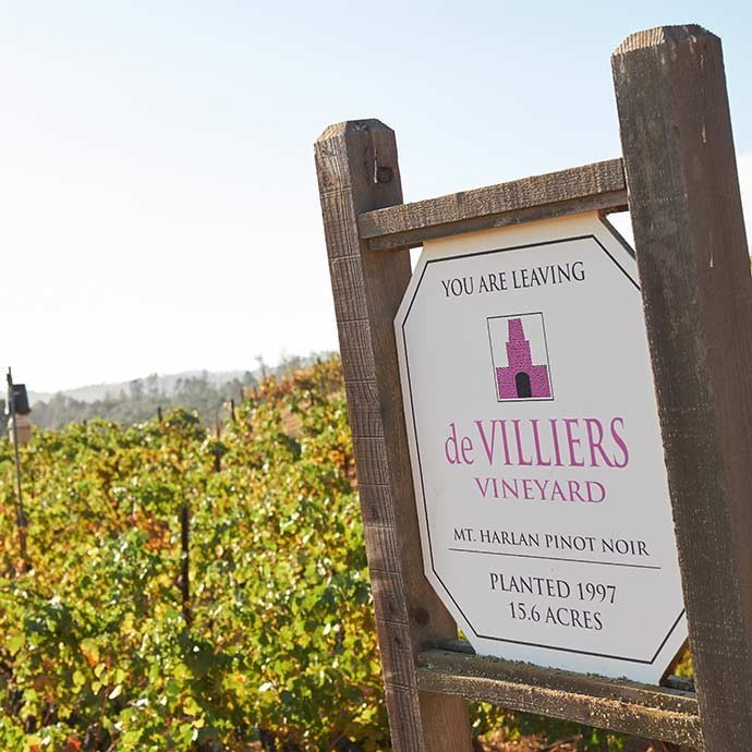 Vineyard sign marking de Villiers vine acerage