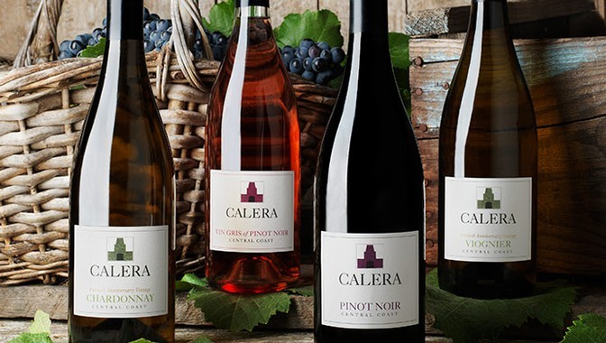 Four Calera Central Coast wines and grape leaves