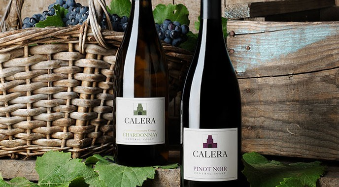 Calera Central Coast Wines with grapes in basket