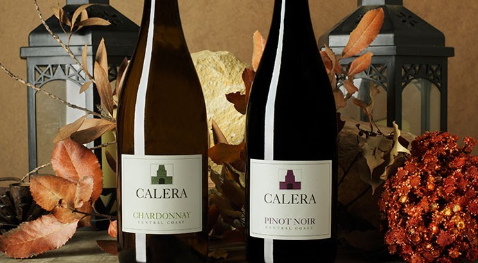 Two Calera wines with fall foliage