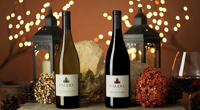 Two bottles of Calera with Fall themed background